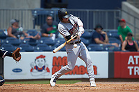Clint Frazier (77) of the Scranton/Wilkes-Barre RailRiders at bat against the Gwinnett Stripers at Coolray Field on August 18, 2019 in Lawrenceville, Georgia. The RailRiders defeated the Stripers 9-3. (Brian Westerholt/Four Seam Images)