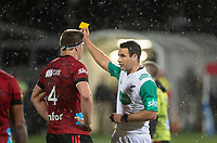Crusaders captain Scott Barrett is sin binned by referee Ben O'Keefe during the 2021 Super Rugby Aotearoa final between the Crusaders and Chiefs at Orangetheory Stadium in Christchurch, New Zealand on Saturday, 8 May 2021. Photo: Joe Johnson / lintottphoto.co.nz