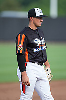 Aberdeen IronBirds third baseman Garrett Copeland (12) on defense against the Hudson Valley Renegades at Leidos Field at Ripken Stadium on July 27, 2017 in Aberdeen, Maryland.  The Renegades defeated the IronBirds 2-0 in game one of a double-header.  (Brian Westerholt/Four Seam Images)