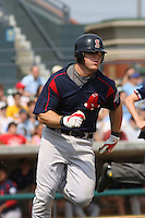 First baseman Zak Farkes of the Salem Red Sox running to first base against  the Myrtle Beach Pelicans on May 3, 2009