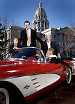 Left to right:  House Majority Leader Alice Madden (D-Boulder), Speaker of the House Andrew Romanoff (D-Denver), Senate President Joan Fitz-Gerald (D-Golden), Senate Majority Leader Ken Gordon (D-Denver), sit in a 1961 Corvette in front of the Colorado State Capitol.  1961 was the last time Democrats were in the majority in both houses (voted in 1960, sessions started in '61).  Car owner is Weldon Montgomery of Boulder (that's optional credit) BUT MUST ABSOLUTELY CREDIT THE FOLLOWING:  Down the Road Corvette Club and the Rocky Mountain Chapter of the National Corvette Restorers Society.