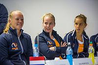 Bratislava, Slovenia, April 21, 2017,  FedCup: Slovakia-Netherlands, Draw ceremony, Durch table, ltr: Kiki Bertens, Richel Hogenkamp and Arantxa Rus.<br /> Photo: Tennisimages/Henk Koster