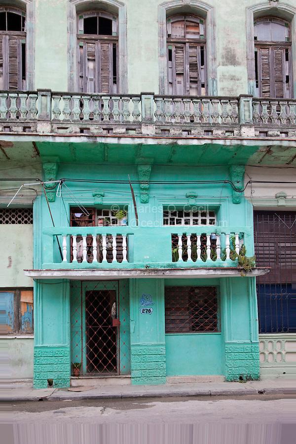 Cuba, Havana.  Entrance to an Apartment Building, Central Havana.