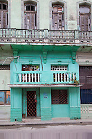 Cuba, Havana.  Entrance to an Apartment Building, Central Havana.