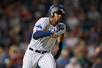 Trenton Thunder Isiah Gilliam (24) runs to first base during an Eastern League game against the New Hampshire Fisher Cats on August 20, 2019 at Arm & Hammer Park in Trenton, New Jersey.  New Hampshire defeated Trenton 7-2.  (Mike Janes/Four Seam Images)