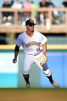 Bradenton Marauders second baseman Kevin Kramer (14) during a game against the Fort Myers Miracle on April 9, 2016 at McKechnie Field in Bradenton, Florida.  Fort Myers defeated Bradenton 5-1.  (Mike Janes/Four Seam Images)