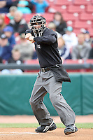 May 15, 2010: Home plate umpire Ryan Goodman at Elfstrom Stadium in Geneva, IL. The Cougars are the Midwest League Class A affiliate of the Oakland Athletics. Photo by: Chris Proctor/Four Seam Images