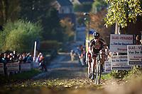 Lars Van der Haar (NLD/Giant-Alpecin) in 2nd position up the Koppenberg cobbles<br /> <br /> Elite Men's race<br /> Koppenbergcross 2015