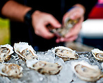 LAUREL, MARYLAND - OCTOBER 22: Oysters on the half shelf in the VIP village on Maryland Million Day at Laurel Park on October 22, 2016 in Laurel, Maryland. (Photo by Scott Serio/Eclipse Sportswire/Getty Images)