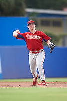 GCL Phillies third baseman Danny Zardon (23) throws to first during the first game of a doubleheader against the GCL Blue Jays on August 15, 2016 at Florida Auto Exchange Stadium in Dunedin, Florida.  GCL Phillies defeated the GCL Blue Jays 7-5 in a completion of a game started on July 30th.  (Mike Janes/Four Seam Images)