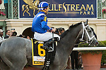 Hallandale Beach, FL- #6 Mohaymen and jockey Junior Alvarado after winning the G2 Fountain of Youth at  Gulfstream Park. (Photo by Arron Haggart)