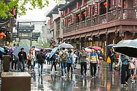 Nanjing, Jiangsu, China.  Confucian Temple Shopping Area on a Rainy Day.