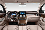 Stock photo of straight dashboard view of 2020 Mercedes Benz GLC-Coupe - 5 Door SUV Dashboard