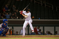 Mesa Solar Sox designated hitter Bobby Dalbec (11), of the Boston Red Sox organization, at bat in front of catcher Ali Sanchez (25) during an Arizona Fall League game against the Scottsdale Scorpions at Sloan Park on October 10, 2018 in Mesa, Arizona. Scottsdale defeated Mesa 10-3. (Zachary Lucy/Four Seam Images)