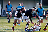Jordan Burns of Ealing Trailfinders in the warm up during the Championship Cup Quarter Final match between Ealing Trailfinders and Nottingham Rugby at Castle Bar , West Ealing , England  on 2 February 2019. Photo by Carlton Myrie / PRiME Media Images.