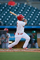 Palm Beach Cardinals shortstop Jose Martinez (15) bats during a Florida State League game against the Daytona Tortugas on April 11, 2019 at Roger Dean Stadium in Jupiter, Florida.  Palm Beach defeated Daytona 6-0.  (Mike Janes/Four Seam Images)