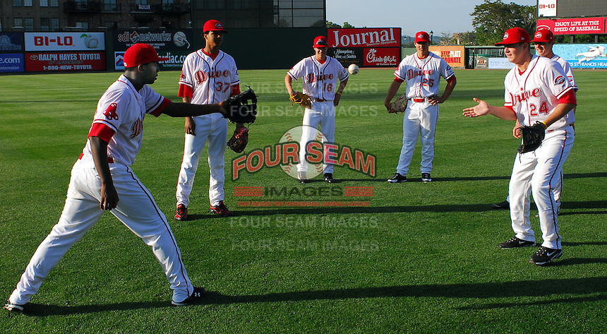 April 28, 2009: Greenville Drive players play a game of pepper prior to a game against the Savannah Sand Gnats at Fluor Field at the West End in Greenville, S.C. Photo by: Tom Priddy/Four Seam Images