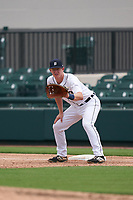 Detroit Tigers first baseman Jimmy Kerr (15) during a Minor League Spring Training game against the Philadelphia Phillies on April 17, 2021 at Joker Marchant Stadium in Lakeland, Florida.  (Mike Janes/Four Seam Images)