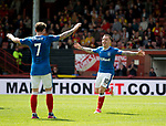 Barrie McKay celebrates his goal for Rangers with Joe Garner