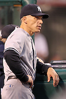 New York Yankees manager Joe Girardi #28 during a game against the Los Angeles Angels at Angel Stadium on September 10, 2011 in Anaheim,California. Los Angeles defeated New York 6-0.(Larry Goren/Four Seam Images)