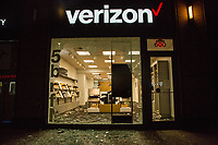 NEW YORK, NEW YORK - JUNE 1: View of a Verizon store damaged by protesters on June 1, 2020 in New York. The protests spread across the country in at least 30 cities across the United States, over the death of unarmed black man George Floyd at the hands of a police officer, this is the latest death in a series of police deaths of black Americans. Today is the first night of a curfew in New York City (Photo by Pablo Monsalve / VIEWpress via Getty Images)