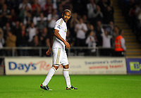 Pictured: Luke Moore of Swansea after scoring his goal. Tuesday 28 August 2012<br /> Re: Capital One Cup game, Swansea City FC v Barnsley at the Liberty Stadium, south Wales.