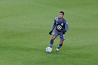 ST PAUL, MN - OCTOBER 18: Jacori Hayes #5 of Minnesota United FC kicks the ball during a game between Houston Dynamo and Minnesota United FC at Allianz Field on October 18, 2020 in St Paul, Minnesota.