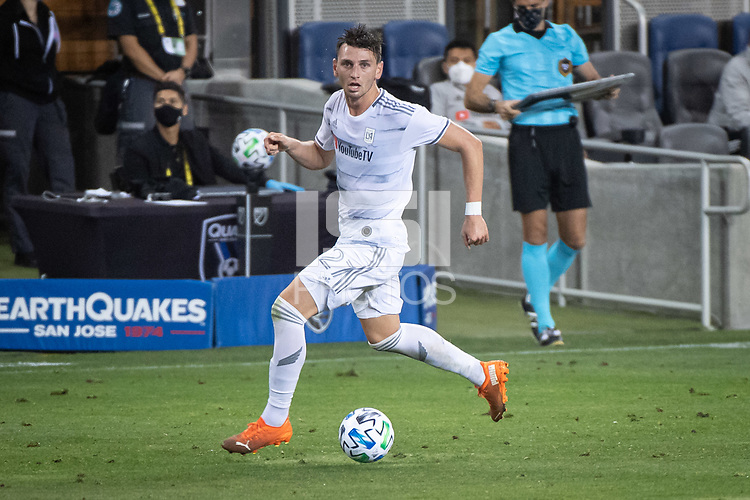 SAN JOSE, CA - NOVEMBER 04: Tristan Blackmon #27 of the Los Angeles FC dribbles the ball during a game between Los Angeles FC and San Jose Earthquakes at Earthquakes Stadium on November 04, 2020 in San Jose, California.