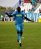 MONTERÍA - COLOMBIA, 23-02-2019: Andrés Arboleda de Jaguares F. C., celebra el gol anotado a Cúcuta Deportivo, durante partido entre Jaguares F. C. y Cúcuta Deportivo de la fecha 6 por la Liga Águila I 2019, en el estadio Jaraguay de Montería de la ciudad de Montería. / Andres Arboleda of Jaguares F. C., celebrates a scored goal to Cucuta Deportivo, during a match between Jaguares F. C. and Cucuta Deportivo, of the 6th date for the Leguaje Aguila I 2019 at Jaraguay de Montería Stadium in Monteria city. Photo: VizzorImage / Andrés López  / Cont.