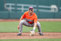 Auburn Tigers third baseman Edouard Julien (10) on defense during Game 4 of the NCAA College World Series against the Mississippi State Bulldogs on June 16, 2019 at TD Ameritrade Park in Omaha, Nebraska. Mississippi State defeated Auburn 5-4. (Andrew Woolley/Four Seam Images)
