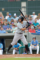 Winston-Salem Dash outfielder Luis Gonzalez (8) at bat during a game against the Myrtle Beach Pelicans at Ticketreturn.com Field at Pelicans Ballpark on July 22, 2018 in Myrtle Beach, South Carolina. Winston-Salem defeated Myrtle Beach 7-2. (Robert Gurganus/Four Seam Images)
