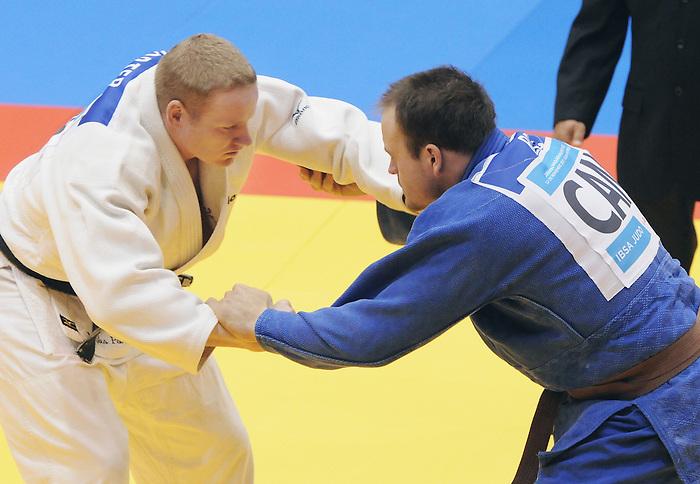Timothy Rees, Guadalajara 2011 - Para Judo // Parajudo.<br /> Timothy Rees (blue) of Canada competes against Myles Porter (White) of USA in Para Judo // Timothy Rees (bleu) du Canada affronte Myles Porter (Blanc) des États-Unis en para judo. 11/18/2011.