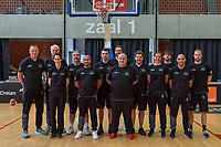 Philip Mestdagh headcoach , Pierre Cornia assistant coach , Karolien De Ceulaer team doctor , Xavier Cambioli physiotherapist , xxx, Jelle Duthoit physiotherapist , Thomas Jadoul , Koen Umans general manager , Sven Aertgeerts team doctor , Ellen Schoupe mental coach , xxx, Sven Van Camp program driver , Pierre-Yves Kaiser physical coach pictured before a basketball game between the national teams of Belgium , called the Belgian Cats , and Nigeria on Sunday 30 th of May 2021 in Kortrijk , Belgium . PHOTO SPORTPIX.BE | SPP | STIJN AUDOOREN