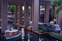Shuttle boat and tram at the palacial Hilton Waikoloa, Big Island of Hawaii