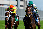 September 18, 2021: La Dragontea (GB) #3, ridden by jockey Joel Rosario wins the Grade 2 Canadian Stakes on the turf at Woodbine Racetrack in Toronto, Ontario Canada on September 18th, 2021. Scott Serio/Eclipse Sportswire/CSM