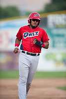 Orem Owlz third baseman Kevin Maitan (9) during a Pioneer League game against the Missoula Osprey at Ogren Park Allegiance Field on August 19, 2018 in Missoula, Montana. The Missoula Osprey defeated the Orem Owlz by a score of 8-0. (Zachary Lucy/Four Seam Images)