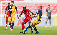 25th August 2020, Red Bull Arena, Slazburg, Austria; Pre-season football friendly, Red Bull Salzburg versus Liverpool FC;  Naby Keita FC Liverpool, Zlatko Junuzovic FC Red Bull Salzburg