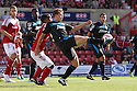 Luke Freeman of Stevenage shields the ball from Nathan Byrne of Swindon<br />  Swindon Town v Stevenage - Sky Bet League One- The County Ground, Swindon - 10th August 2013<br /> © Kevin Coleman 2013