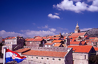 St Marks Cathedral and the rooftops of Korcula Town. Croatia