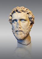 Roman portrait bust of Emperor Antoninus Pius, 138-161 AD. Titus Fulvius Aelius Hadrianus Antoninus Augustus Pius, also known as Antoninus, was Roman Emperor from 138 to 161. He was a member of the Nerva–Antonine dynasty and the Aurelii.[3]<br /> He acquired the name Pius after his accession to the throne, either because he compelled the Senate to deify his adoptive father Hadrian, or because he had saved senators sentenced to death by Hadrian in his later years. The National Roman Museum, Rome, Italy
