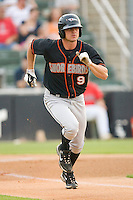 Brian Conley #9 of the Delmarva Shorebirds hustles down the first base line against the Kannapolis Intimidators at Fieldcrest Cannon Stadium May 14, 2010, in Kannapolis, North Carolina.  Photo by Brian Westerholt / Four Seam Images