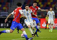 3rd June 2021; Estadio Único de Santiago del Estero, Santiago del Estero, Argentina; World Cup football qualification, Argentina versus Chile; Lionel Messi of Argentina gets past Erick Pulgar of Chile