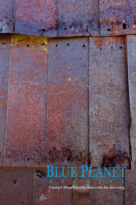 Rusted old metal siding, Kelley Building on Green Street.
