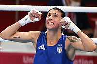 210728 -- TOKYO, July 28, 2021 -- Irma Testa of Italy celebrates after winning the boxing women s feather 54-57kg quarterfinal against Caroline Veyre of Canada at the Tokyo 2020 Olympic Games, Olympische Spiele, Olympia, OS in Tokyo, Japan, July 28, 2021.  TOKYO2020JAPAN-TOKYO-OLY-BOXING-WOMEN S FEATHER OuxDongqu PUBLICATIONxNOTxINxCHN <br /> Photo Imago  / Insidefoto ITALY ONLY