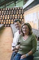 Oak barrel aging and fermentation cellar. Filipa Tomaz da Costa winemaker. Bernardo Gouvea previously general manager. Bacalhoa Vinhos, Azeitao, Portugal