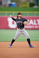 Brendan Rodgers (1) of the Albuquerque Isotopes during the game against the Salt Lake Bees at Smith's Ballpark on April 24, 2019 in Salt Lake City, Utah. The Isotopes defeated the Bees 5-4. (Stephen Smith/Four Seam Images)