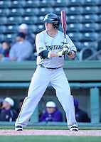 Infielder Jared Hook (2) of the Michigan State Spartans in a game against the Furman Paladins on February 25, 2012, at Fluor Field in Greenville, South Carolina. (Tom Priddy/Four Seam Images)