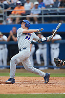 JJ Schwarz (22) of the Florida Gators follows through on his swing against the Wake Forest Demon Deacons in the completion of Game Two of the Gainesville Super Regional of the 2017 College World Series at Alfred McKethan Stadium at Perry Field on June 12, 2017 in Gainesville, Florida. The Demon Deacons walked off the Gators 8-6 in 11 innings. (Brian Westerholt/Four Seam Images)