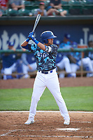 Moises Perez (10) of the Ogden Raptors bats against the Grand Junction Rockies at Lindquist Field on June 14, 2019 in Ogden, Utah. The Raptors defeated the Rockies 12-0. (Stephen Smith/Four Seam Images)
