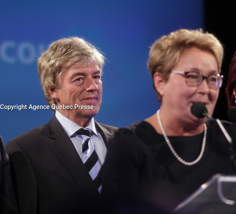 April 7, 2014 - Claude Blanchette, husband of<br /> Pauline Marois, Parti Quebecois leader and Premier of Quebec at the  Montreal PQ  gathering on election night. <br /> <br /> After accepting defeat to Liberal leader Philippe Couillard, she annouced she is stepping down as Parti Quebecois leader.<br /> <br /> <br /> <br /> Photo : Pierre Roussel